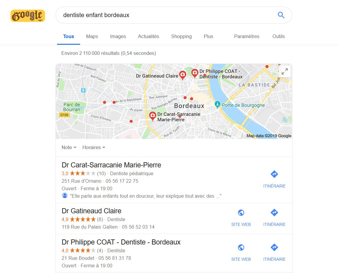 Affichage seo local Google My Business